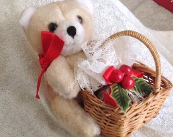 Vintage Teddy Bear Christmas Ornanent