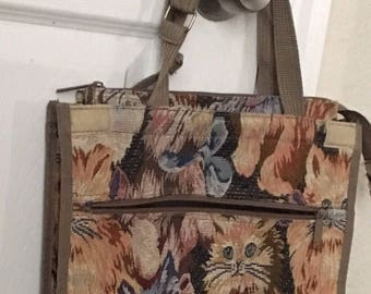 Vintage Cat Tapestry Tote With Wheels