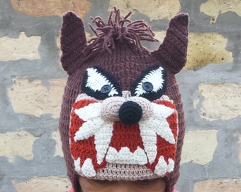Tasmanian devil hat,tasmanian hat,devil hat,Devil knitting hats,tasmanian devil,characters hat,crazy hat