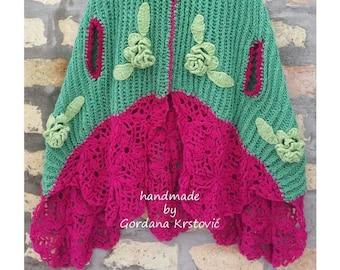 Crocheted flowers Poncho,crochet poncho,gypsy poncho,hippie poncho,green poncho,knitted poncho,crochet gypsy poncho,crochet, flowers poncho