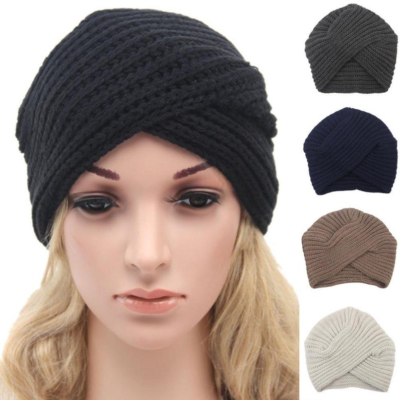 024c7867d53 Knitted turban hat Black Womens knit hatwooleco