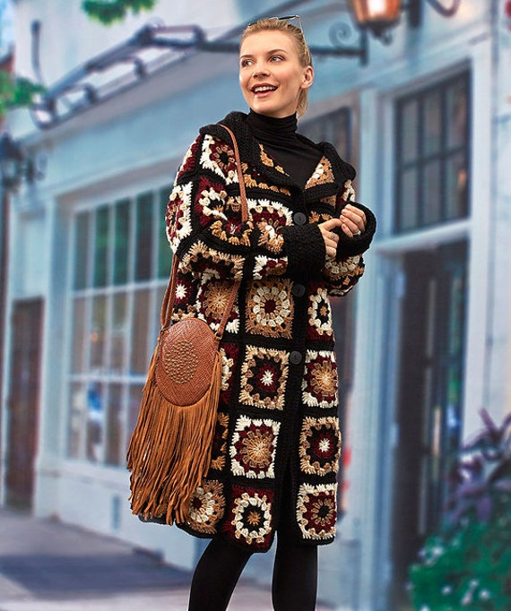Oma Platz Mantel Gypsy Mantel lang häkeln Mantel Oma Platz | Etsy