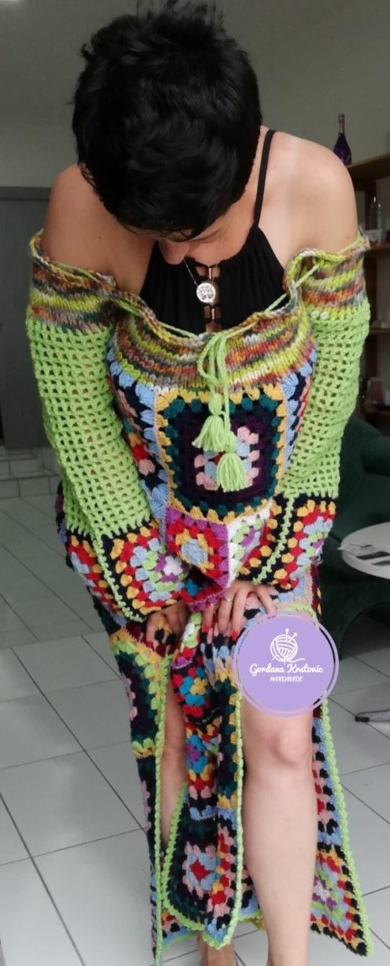 Granny Square dress,Long dress,Spell and Gypsy dress,Hippie Gypsy dress,crochet patchwork dress,crochet dress,maxi dress,multicolor dress