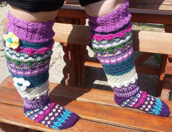794116fa5a7 Hand knit knee socksleg warmersknitted socksUnique