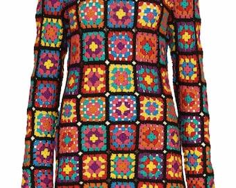 Crochet Dress,Crochet Granny Square Tunic,rainbow,Granny Square Crochet Dress,Boho,Gypsy Tunic,Afghan Dress,Handmade Crochet Vintage