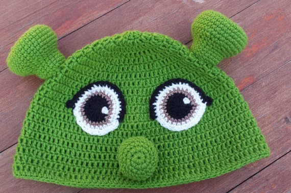 Shrek Oorflap Hoed Groene Ogre Muts Gehaakte Shrek Hoed Etsy