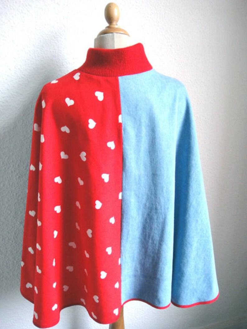 Poncho/_denim Light Blue /& Hearts