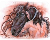 Brothers - Print, native american art, signed print, horse and man, watercolor painting, wall art, unique gift, historic art