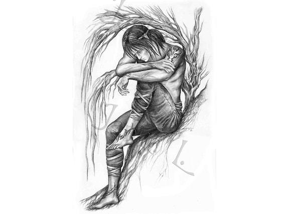 Traurig Elf Original Zeichnung Elfen Kunst Baum Zeichnung Etsy