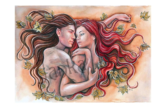 Original Painting My Love Love Couple Elven Art Fantasy Painitng Watercolor Painting Romantic Art Autumn Romance Signed Art