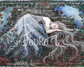 "Sleeping beauty -  11,22"" x 7,87"" or 15,35"" x 11,00"" Print, fairytale fantasy art princess woman roses signed print"