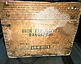 66 Year Old, DuPont Explosives Explosives 'Special Gelatin' 40% Strength Wooden Rustic Storage Crate