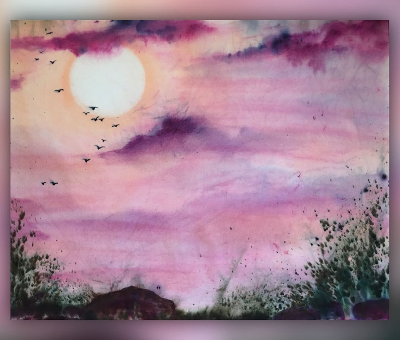 Hand-dyed fabric Unique landscape art panel hand-dye-painted image 0