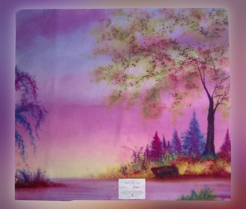Hand-dyed fabric Unique landscape art panel hand-dye-painted image 0