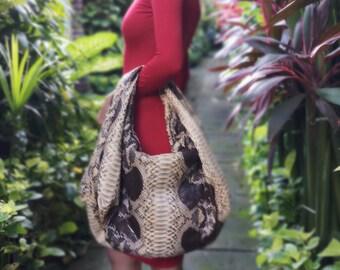7d02e856e27a09 Brown beige hobo Python snakeskin bag genuine leather handbag purse  shoulder bag tote