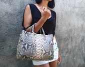 Beige tote bag Python snakeskin bag genuine leather gray handbag purse shoulder bag cross body tote