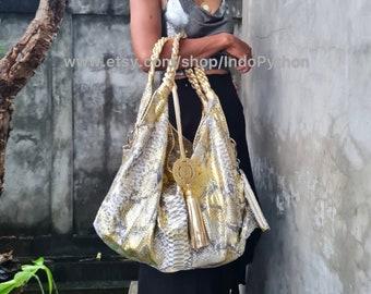 Gold snakeskin large hobo bag | shoulder bag | leather tote bag | python bag | leather hobo bag | snakeskin bag | python handbag | bag