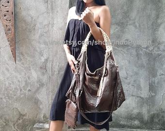 Brown gold hobo Python snakeskin bag genuine leather gray handbag purse shoulder bag cross body tote