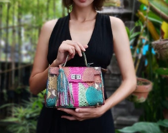 Multicolor bag Python snakeskin bag genuine leather gray handbag purse  shoulder bag cross body tote b8a130cec83e0
