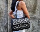 Black bag quilted bag python bag snakeskin bag black leather bag gift for her glossy bag python purse python handbag black purse