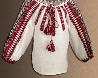 Embroidered blouse for girls, Vyshyvanka with Ukrainian folk ornament, Ethnic clothing from Ukraine