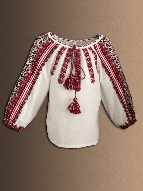 Ukrainian embroidered blouse for girl Size 3-12 years Vyshyvanka New