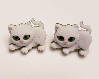 Fantastic Furry Kitten Button Stud Earrings