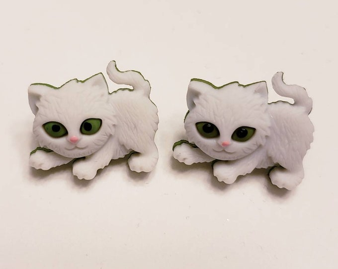 Fantastic Furry Kitten Button Stud Earrings