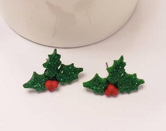 Christmas Holly Stud Earrings