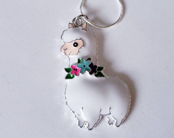 Llama Floral Chunky Enamel Pendant Silver Necklace