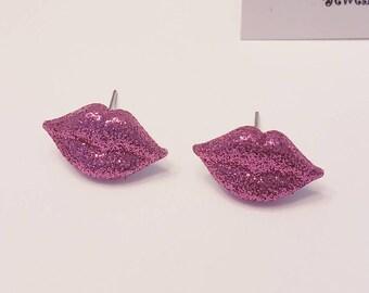 Glitter Lips Button Stud Earrings