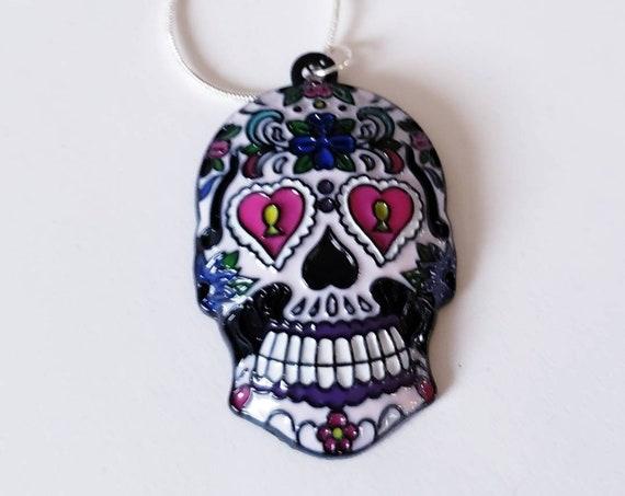 Sugar Skull Chunky Enamel Pendant Silver Necklace