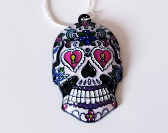 Sugar Skull Day of the Dead Chunky Enamel Pendant Silver Necklace