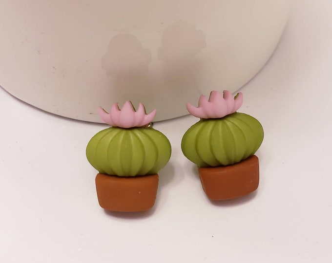 Sweet Succulent Cactus Button Earrings