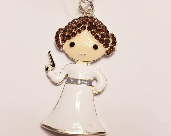 Star Wars Princess Leia Chunky Enamel Pendant Silver Necklace