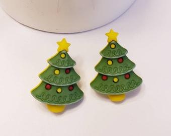 Festive Holiday Colorful Christmas Tree Stud Earrings