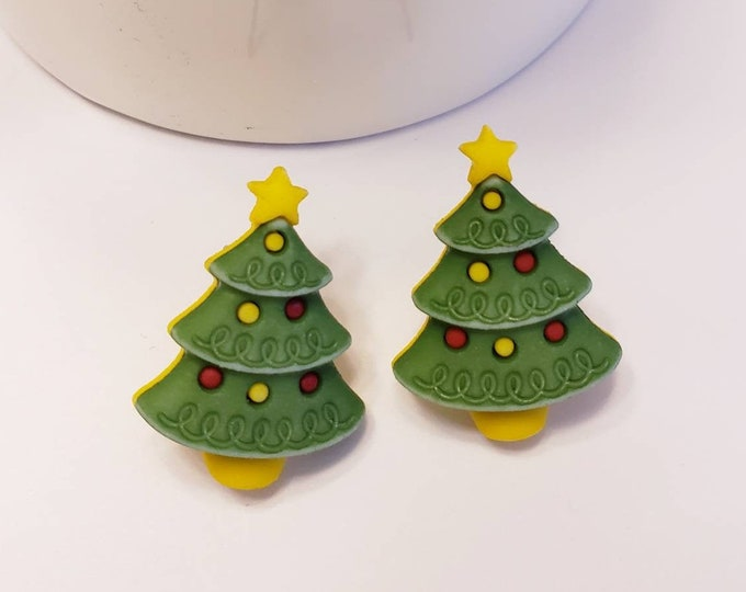 Festive Holiday Colorful Christmas Tree Stud Earrings