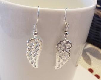 Scrolling Angel Wing Silhouette Dangle Earrings