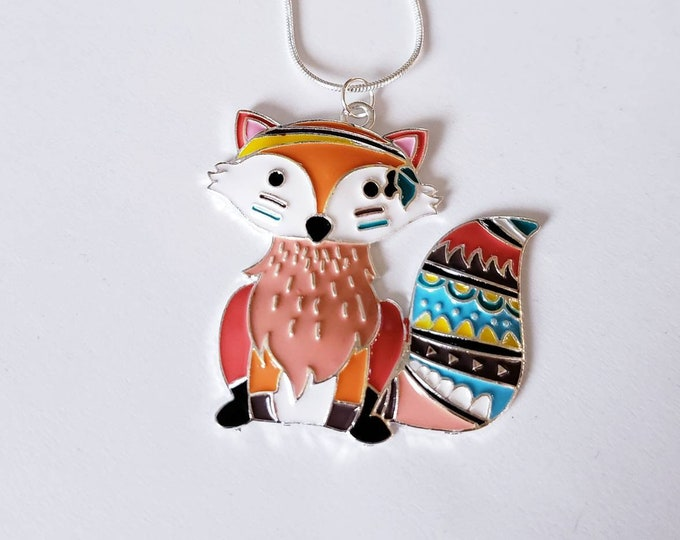 Fox Patterned Chunky Enamel Pendant Silver Necklace