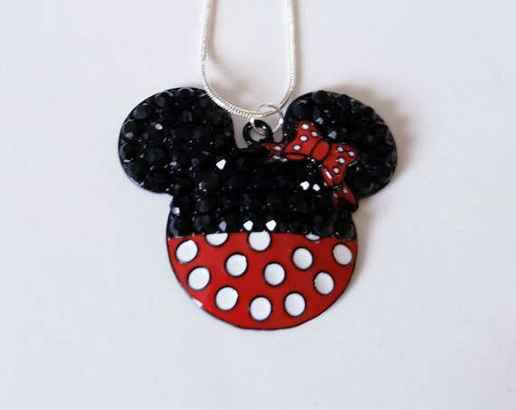 Disney Minnie Mouse Enamel Pendant Silver Necklace