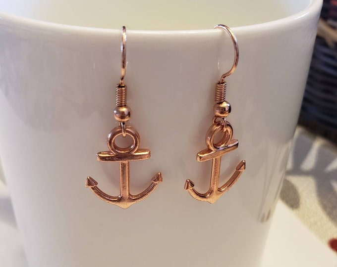Rose Gold Anchor Charm Dangle Earrings