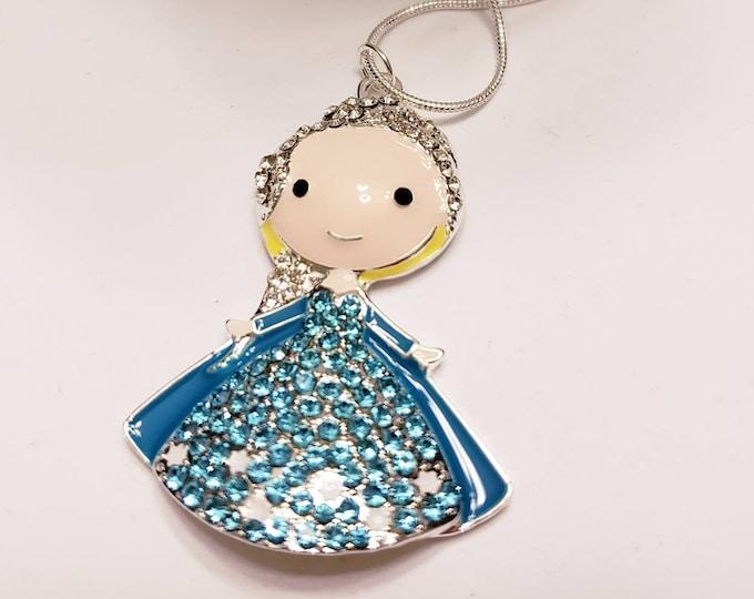 Disney Frozen Characters Chunky Enamel Pendant Silver Necklace