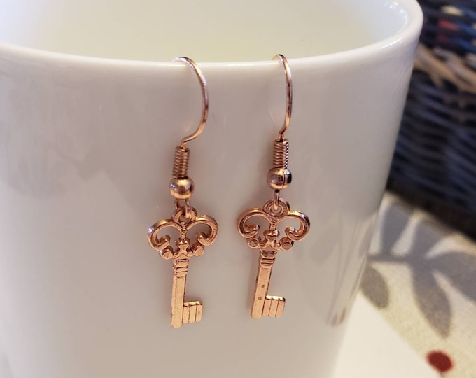 Scroll Keys Rose Gold Dangle Earrings