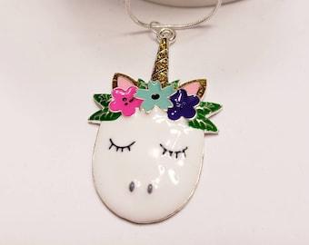 Unicorn Floral Chunky Enamel Pendant Silver Necklace