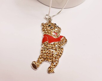 Disney Winnie the Pooh and Friends Chunky Enamel Pendant Silver Necklace