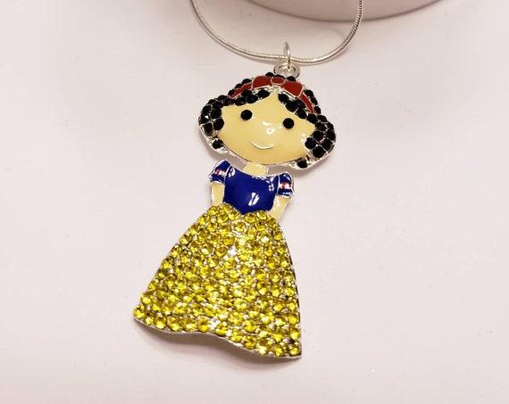 Disney Princesses & Fairies Chunky Enamel Pendant Silver Necklace