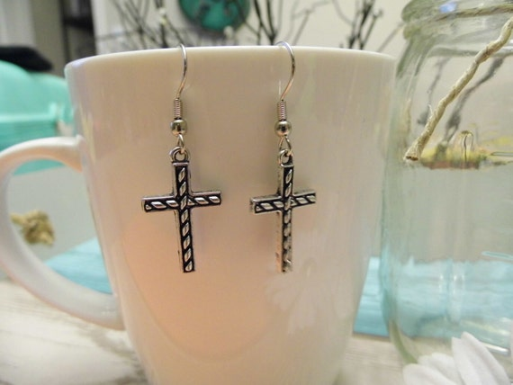 Silver Square Cross Earrings