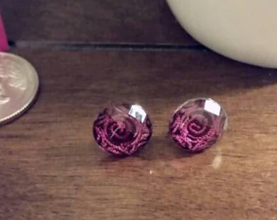 Pink Foil Swirl Button Stud Earrings