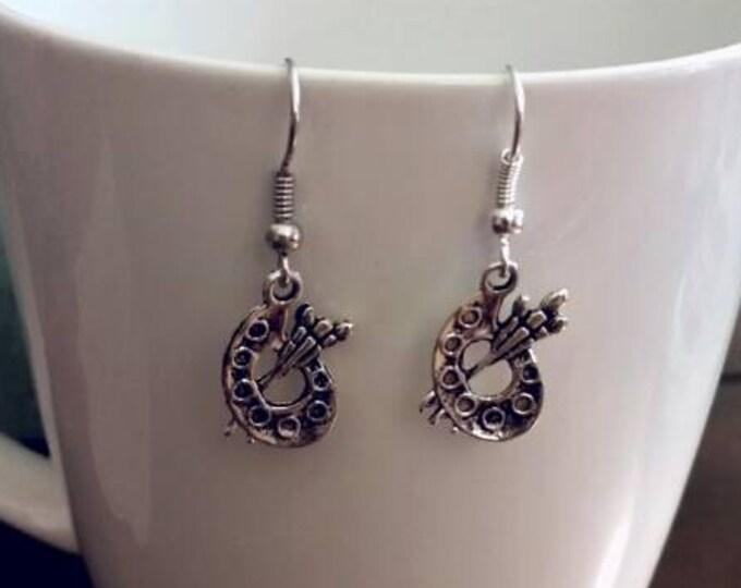 Silver Artist Painting Palette Earrings