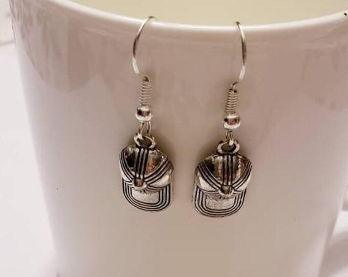 Stranger Things Inspired Dustin Baseball Hat Silver Dangle Earrings